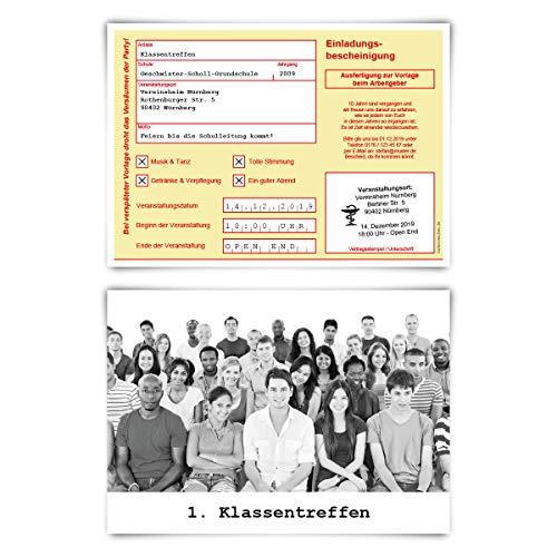 100 x Klassentreffen Einladungskarten individuell mit Foto und Text A6 - Krankschreibung in Gelb