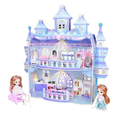 Puppenhaus, Große 2 Spielebenen Eispalast Puppenhaus Schloss mit Licht für mädchen, DIY 3D Puppen Haus Spielset Spielzeug mit Möbel Zubehör und Puppen Einschließen Wohnzimmer, Schlafzimmer, Küche, Bad