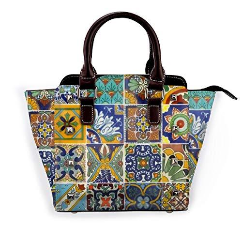 BROWCIN Mexikanischer Fliesen-Kunstpapierschnitt Abnehmbare mode trend damen handtasche umhängetasche umhängetasche