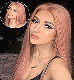 VEBONNY Light Rose Pink Lace Front Perücken für Damen Cosplay Pink Lace Perücken Synthetic Hair Pink Perücke 22 Zoll VEBONNY-004