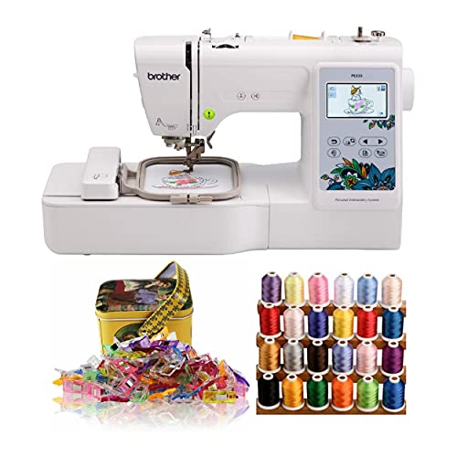 Brother PE535 4x4-Inch Embroidery Machine with Embroidery Machine Thread (24 Colors), Sewing Clips...