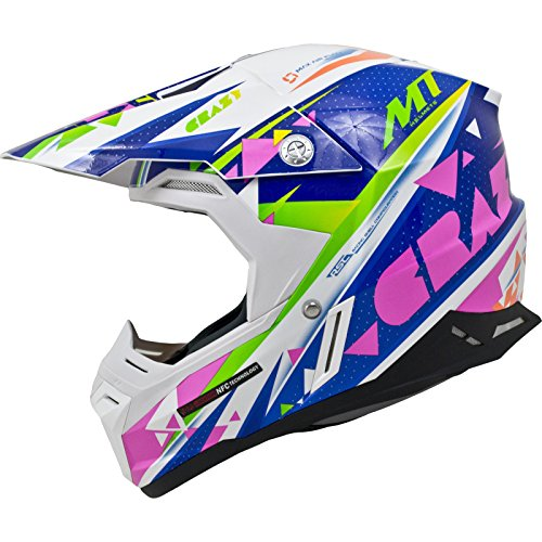 MT Synchrony Crazy Motocross Helmet XL White Blue Pink