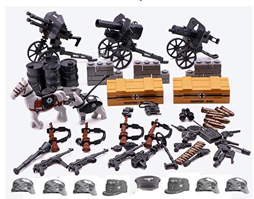 Modbrix 3 x WW2 Infanterie Flak Vierling, MG, Geschütz Zubehör für Minifiguren Soldaten,über 400 Teile