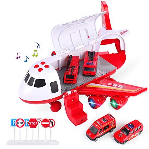SHANNA Flugzeug Spielset, Trägheitsrad Flugzeug mit Fahrzeugen Lernspielzeug Set, 1 großes Flugzeug, 4 legiertes Auto für Kleinkinder über 3 Jahre (Feuerwehrauto-Rot)