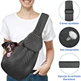SlowTon Transportín para Perros Pet Carrier Dog Cat Hand Sling Carrier Bandolera Correa de Hombro Acolchada Ajustable Tote Bag con Bolsillo Delantero Outdoor Travel Puppy Carrier (Malla Gris)