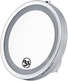 XZPENG Makeup Mirror with Light, 3X Magnification 6-Inch Portable LED Illuminated Round Suction Cup Vanity Mirror (Color : Silver)