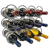 botellero Estante de vino apilable de 3 niveles Sorbus - Estantes de vino redondos de estilo clásico for botellas - Perfecto for bar, bodega, sótano, gabinete, despensa, etc. - Sostiene 12 botellas, m