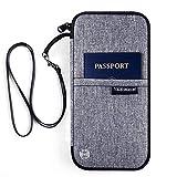 Reiseorganizer Reisepass Tasche – Luxsure Wasserabweisende Reiseunterlagen Mappe Ausweistasche Reisedokumententasche Travel Wallet Organizer Tickettasche für Damen Herren (Grau)