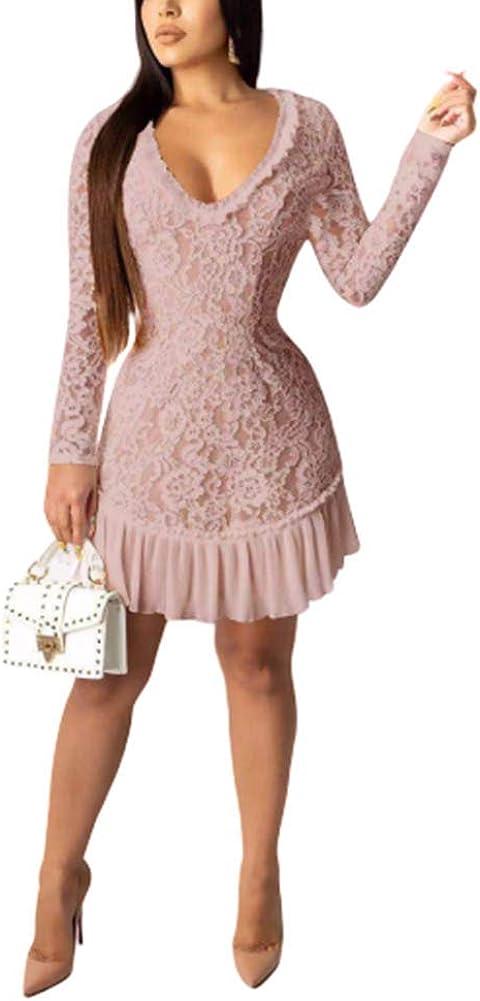 Akk Women Sexy Floral Lace Mesh Sheer Hollow Out Deep V Neck Long Sleeve Ruffled Hen Bodycon Midi Dress
