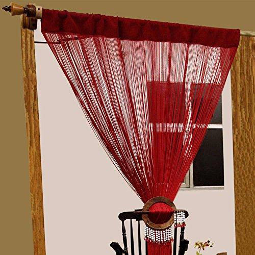 HOMESCAPES FADENVORHANG (200 x 90cm), 100% Polyester, hochqualitativer RAUMTEILER, handgewebt, 1 STÜCK, rot