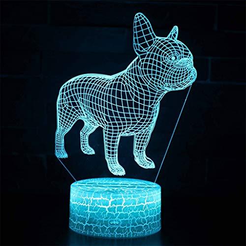 Illumination 3D / Veilleuse à LED, 7 couleurs, Crack Base, Toucher/Télécommande, Décoration de zoo, Cadeaux pour enfants, Lumières de sculptures d'art et Câble USB