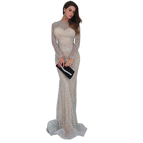 Missord Women s O Neck Long Sleeve Pattern Glitter Slim Maxi Elegant Dress  FT8581 e6597a1ff