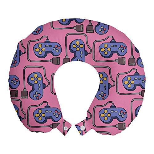 ABAKUHAUS Gaming Reisekissen Nackenstütze, Cabled Joystick Illustration, Schaumstoff Reiseartikel für Flugzeug und Auto, 30x30 cm, Rosa Violett Blau