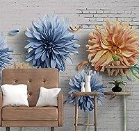 カスタム写真壁紙ヴィンテージレンガ壁花3D壁画リビングルームテレビソファ背景壁家の装飾壁紙3D-280x200cm