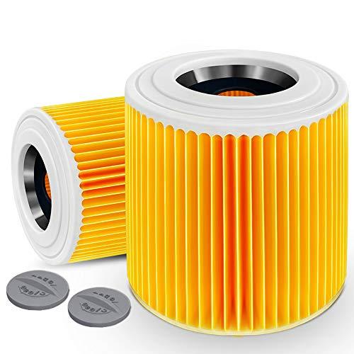 Alaskaprint 2X Filtro de Cartucho, reemplazo de Filtro de Aire para Kärcher WD3 Premium WD2 WD3 WD3 MV3 WD3P Aspiradora seca y húmeda