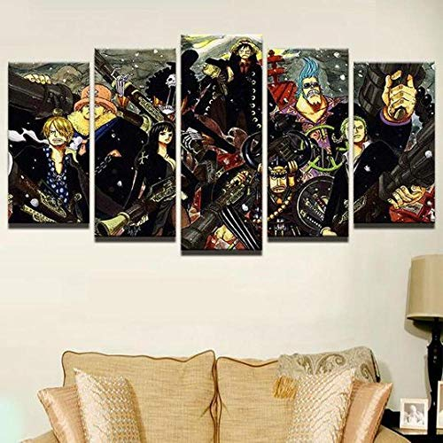 MOXIGE 5 Piezas Cuadros Decoracion Salon Modernos/Cuadros para Dormitorios Modernos Lienzos Decorativos Enmarcado Innovador Regalo One Piece 2 - Anime-150 x 80 cm