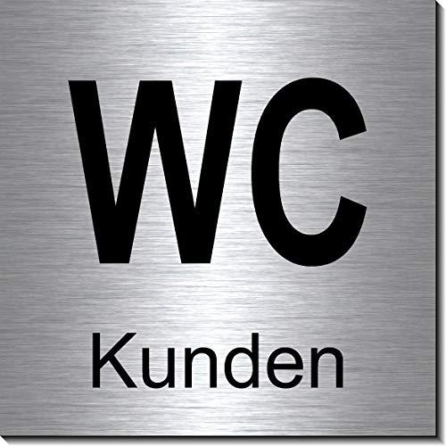 WC-Kunden-Toiletten-Bad-Klo-Symbol-Schild 100 x 100 x 3 mm-Aluminium Edelstahloptik silber mattgebürstet Hinweisschild-Warnschild-1910-12