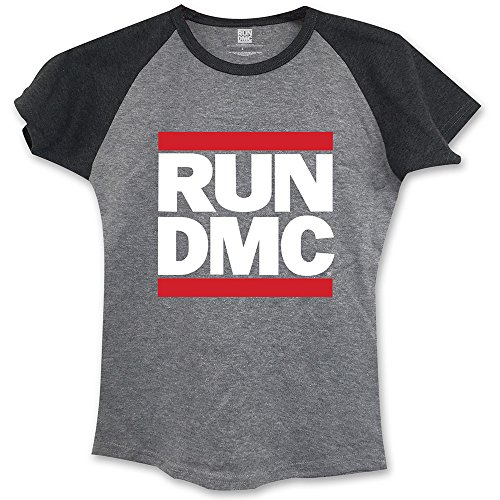 Rockoff Trade Damen Run Dmc Logo Raglan T-Shirt, grau, Large