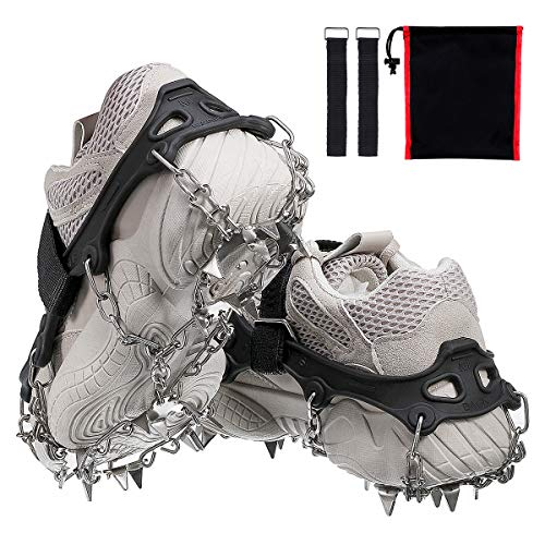 Audew Ice Cleats, Traction Cleats with Anti Slip 19 Stainless Steel Spikes, Winter Crampons Ice Snow Grips for Walking, Jogging, Climbing and Hiking on Snow & Ice (Fit M Size Shoes/Boots) One Pair