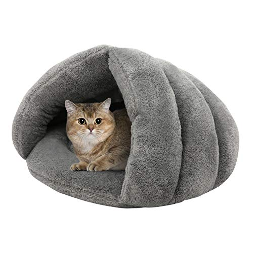Kama - Cama triangular para gatos, tienda de campaña para cachorros y gatitos, forro polar, para perros pequeños, gatos, antideslizante, parte inferior para dormir
