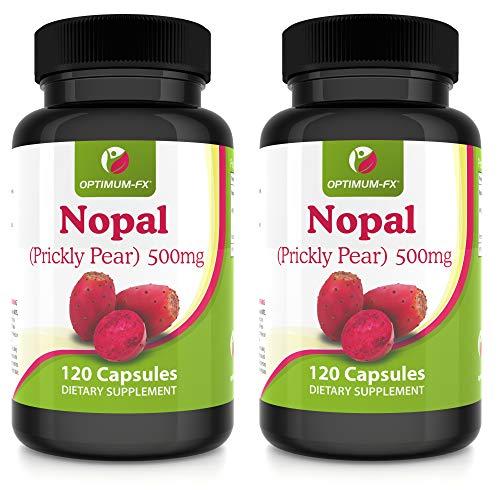 Gélules de Nopal Complément à Base de Figuier de Barbarie Extrait Pur Haute Concentration 500 mg – PAS en Comprimés ni en Poudre – 120 Gélules par Pot 2 Mois la Fourniture