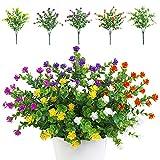 TSHAOUN 5 piezas Flores Artificiales Flor Falsas,Arbustos Verdes Resistentes a Los Rayos UV Plantas para Colgar en Interiores y Exteriores,para Casa Jardín Ventana Fiesta Boda Decoración (Multicolor)