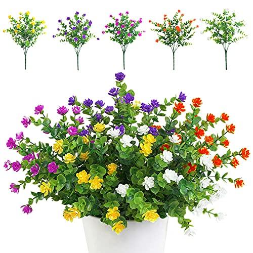 TSHAOUN 5 Stück Künstliche Blumen Unechte Blumen Deko Innen Draussen Pflanzen Sträucher Grün UV-beständige für Blumen Arrangement, Zuhause Garten Braut Hochzeit Party Dekor (Fünf Farben)