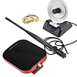 MSlongzc 200m Long Range Password Cracking Dual Antenna USB WiFi Receiver Adapter Decoder for WEP Encrypted WiFi Signals Black