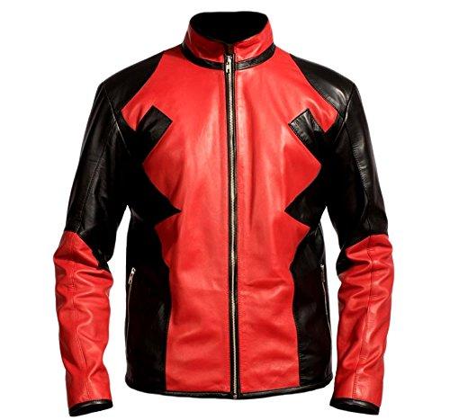 Classyak Herren Fashion Leder Jacke Gr. Medium, Faux Red