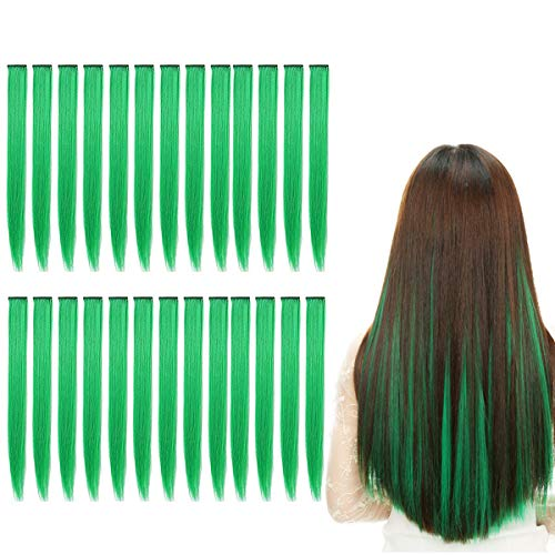 Kyerivs Colored Clip in Hair Extensions 20 inch Rainbow Heat-Resistant Straight Highlight Hairpieces Cospaly Fashion Party Christmas Gift For Kids Girls 24 pcs (Green)