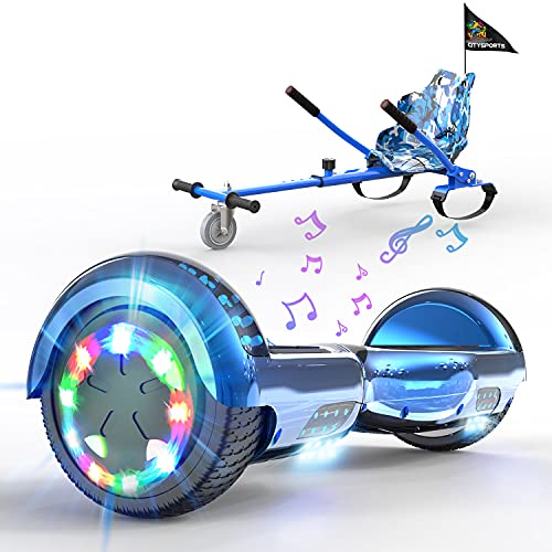 HITWAY Hoverboards go Kart Seat, 6.5 Inches Segway hoverkart with LED Lights and Bluetooth Speaker, Self Balance Scooter with Hoverkart, Best Christmas gifts for kids Boys Girls