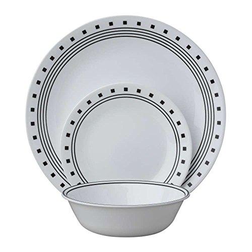 Corelle Livingware 24-Piece Dinnerware Set, City Block,Service for 8