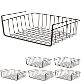 Smart Design Undershelf Storage Basket - Medium - Snug Fit Arms - Steel Metal Wire - Rust Resistant - Under Shelves, Cabinet, Pantry, Shelf Organization - Kitchen (16 x 5.5 Inch) [Bronze] - Set of 6