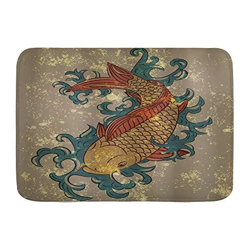 LiminiAOS Alfombra de baño, Estilo japonés Grunge, Agua Oriental, pez Carpa Koi, Antideslizante, Absorbente, Ultra Suave, Alfombrillas Decorativas para baño