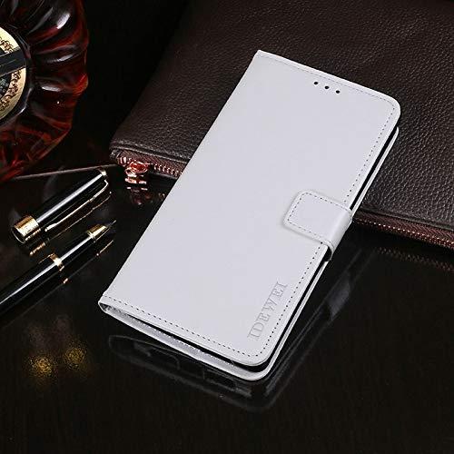Liluyao Funda telefónica para Xiaomi Caballo Loco Textura Horizontal del Cuero del tirón con el sostenedor y Ranuras for Tarjetas y Monedero (Color : Blanco)