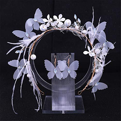 MIMIOOORE Haarschmuck Schmetterling Feder-Haar-Band-Ohrring-Set Brautkleid Zubehör Hochzeit (Color : White)