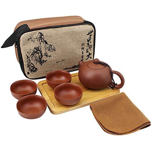 MEGAUK Zisha Kungfu Tee Set, Tragbare Reise lila Ton Teekanne + 4 Teetassen, Handgemachte Chinesische/Japanische Teeservice