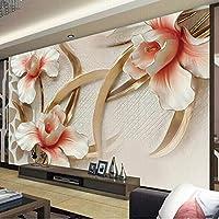 カスタム壁布3Dステレオエンボスユリの花写真壁画壁紙リビングルームテレビソファ背景壁カバー家の装飾-400X280cm
