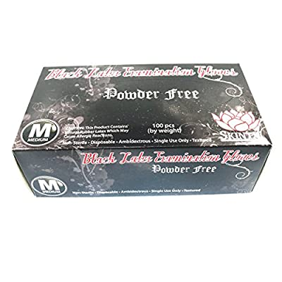 Getbetterlife Black Latex Powder Free Disposable Tattoos Piercing Industrial Gloves Sizes Small to X-Large