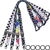 AMUU Lanyard 5 Pack lanyards for id Badges Holder Keys Neck Office Safety Breakaway Lanyard with 5 Pack Key Ring Black for Keys Women Kids Ship Card Cruise Black White