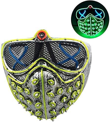 Kunststof Halloween Light Up Masker Rivet Glimmend Masker Props voor Halloween Rave Parties Discos Clubs, Kleurrijke