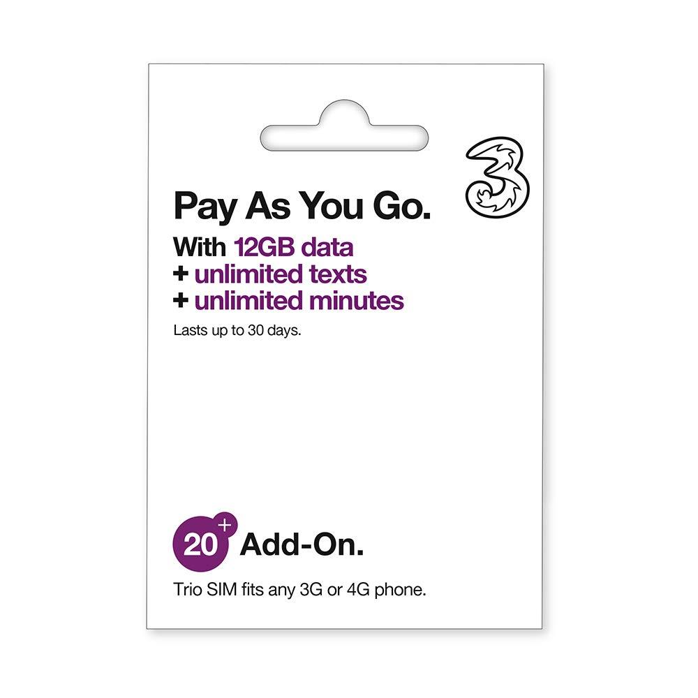 Tarjeta SIM Three Bono20-12GB + 3000MINS + 3000SMS (A Usar en Toda Europa): Amazon.es: Electrónica