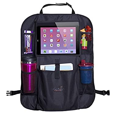 Mom's Besty Car Back Seat Organizer For Kids and Toddlers - Touch Screen Tablet Holder For Android & iOS Tablets up to 10.1  - Multipurpose Use as Auto Seat Back Protector, Kick Mat, Car Organizer