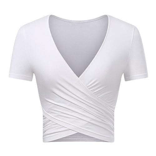 d6eb0d054a362 VEAWLL Women s Tops Short Sleeve Deep V Neck T Shirts Cross Wrap Cute Crop  Tops