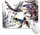 HASENCIV Alfombrilla de Ratón,Flores de pájaro Azul Negro,Alfombrilla de ratón Gaming,Base de Goma Antideslizante,Mouse Pad para Oficina 24 x 20 cm