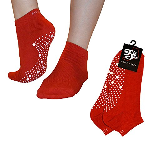 Pilates, Yoga, Barre, Kampfsport, Fitness, Tanz. Anti-Rutsch, Stürze Prävention Grip-Socken, Grip Socks (Rot/Weiss)