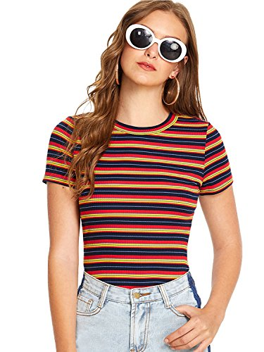 Milumia Women's Casual Multi Striped Ribbed Short Sleeve Solid Tee Knit Top Multicolor Red Large