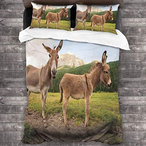 BEITUOLA Juego de Funda nórdica,Dos Lindos burros de pie en la Pradera en Dolomitas Italia campiña mediterránea,1 Funda de Edredón y 2 Fundas de Almohada 140 x 200cm