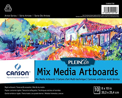 Canson Plein Air Mix Media Art Board Pad for Watercolor, Acrylic, Pens and Pencils, 8 x 10 Inch, Set of 10 Boards