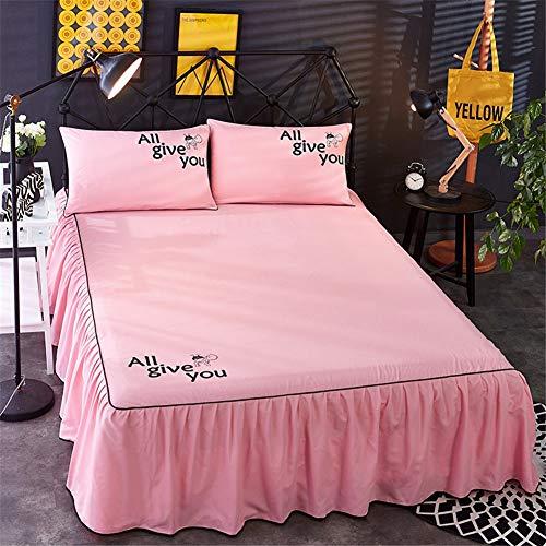 Grijs Volant rok voor bedden met elastiek, voor tweepersoonsbedden